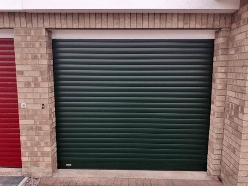 Green roller garage door in Pinchbeck nr Spalding