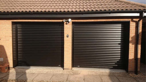 SWS RD77 LT insulated roller garage doors installed nr Spalding