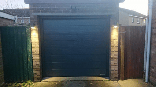 North Wootton was a Garador insulated sectional Garage door in Anthracite woodgrain