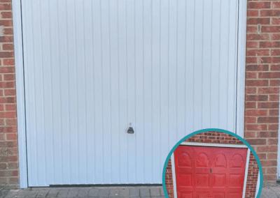 Carlton Canopy Garage Door to replace Red Garage Door in Kings Lynn.