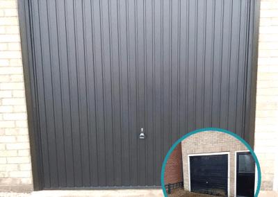 Black Garador Carlton canopy door inc a steel frame.
