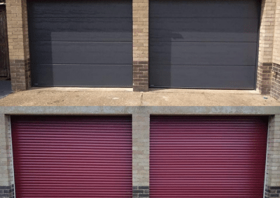 2 Carteck insulated large ribbed sectional doors in Anthracite.