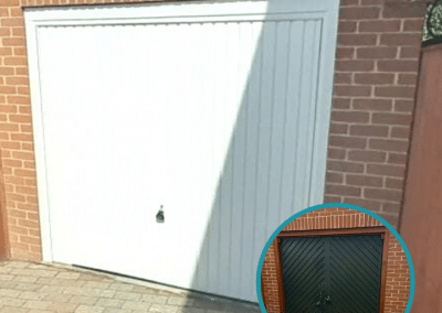 White Garador Carlton canopy garage door installed in Clenchwarton