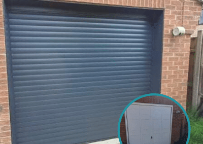 The old door was replaced with a Trojon insulated roller door in Anthracite with matching guides and box