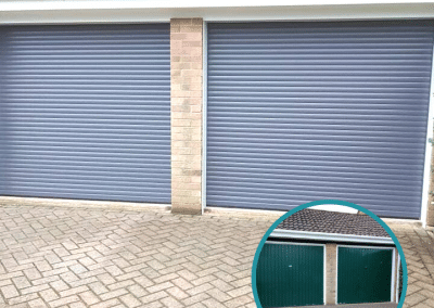 Alluguard compact roller doors finished in bespoke grey matched to customer specification