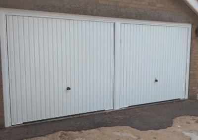 Pair of Garador Carlton canopy doors in white inc steel frames