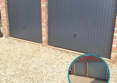 Garador Carlton canopy doors in Anthracite inc steel frames & 2 point locking