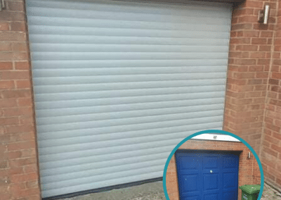 Trojon insulated roller door in Agate Grey, in a full hood, safety brake and secure locking clips