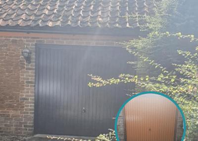 Garador Carlton canopy door in Anthracite, replacing the old door and wooden frame.