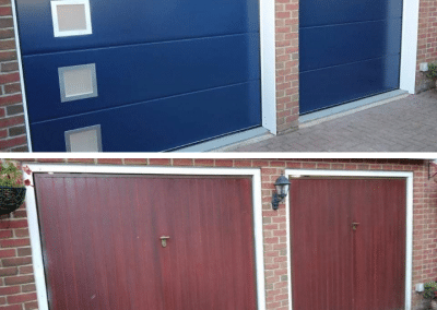 Carteck insulated sectional doors with a solid design finished in steel blue. South Wooton.