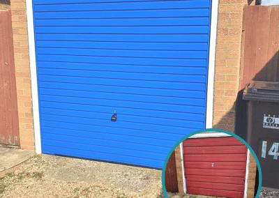 Garador Horizon canopy garage door in Signal Blue.