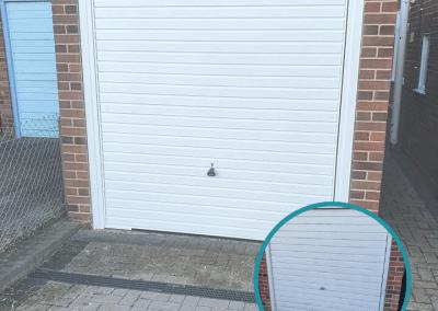 Garador Horizon retractable door in white installed in West Lynn.
